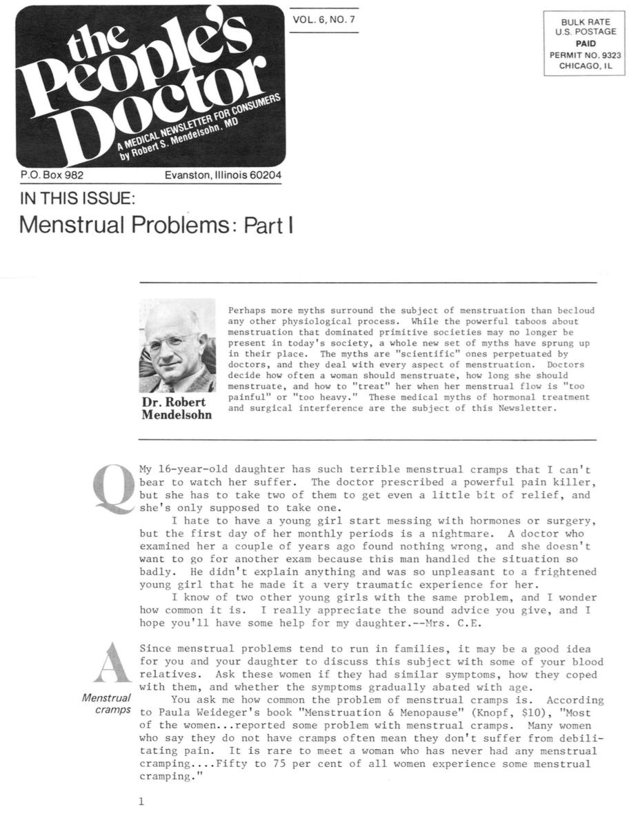 Menstrual Problems: Part I