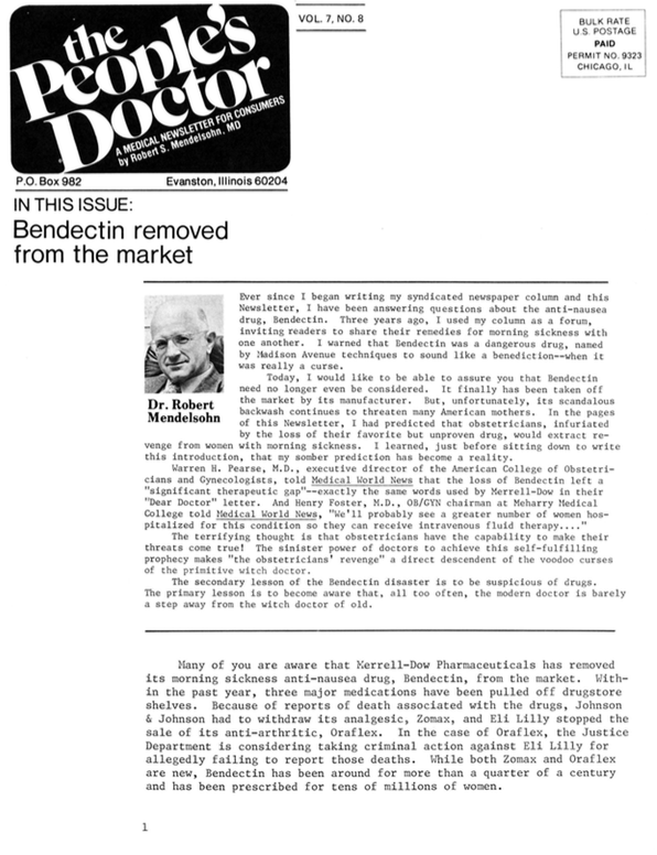 Bendectin removed from the market