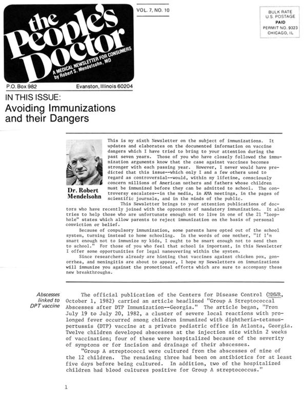 Avoiding Immunizations and their Dangers