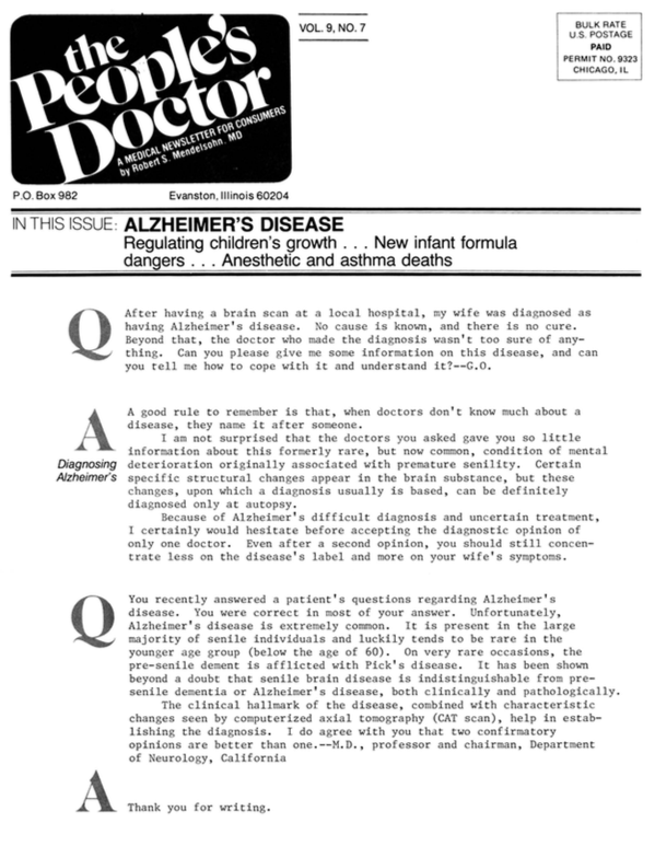 ALZHEIMER'S DISEASE: Regulating children's growth…New infant formula dangers…Anesthetic and asthma deaths