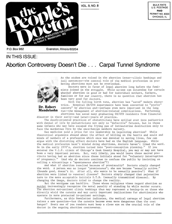Abortion Controversy Doesn't Die…Carpal Tunnel Syndrome