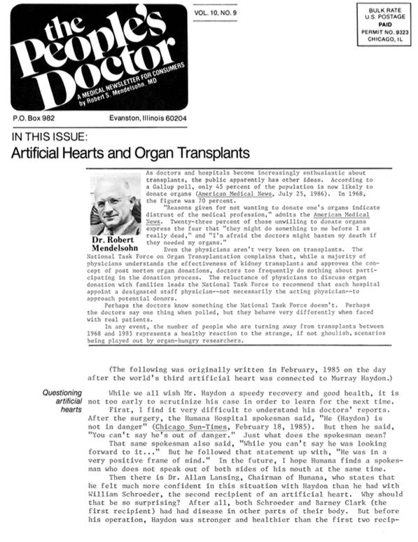 Artificial Hearts and Organ Transplants