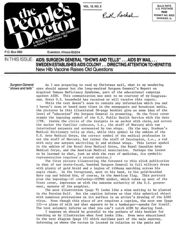 """AIDS: SURGEON GENERAL """"SHOWS AND TELS""""…AIDS BY MAIL…SWEDEN ESTABLISHES AIDS COLONY…DIRECTING ATTENTION TO HEPATITIS: New Hib Vaccine Raises Old Questions"""