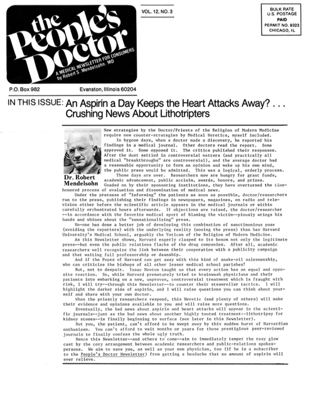An Aspirin a Day Keeps the Heart Attacks Away? Crushing News About Lithotripters
