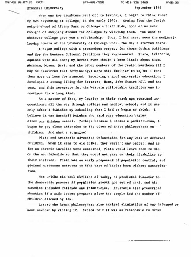 R.S. Mendelsohn's speech at Brandeis University