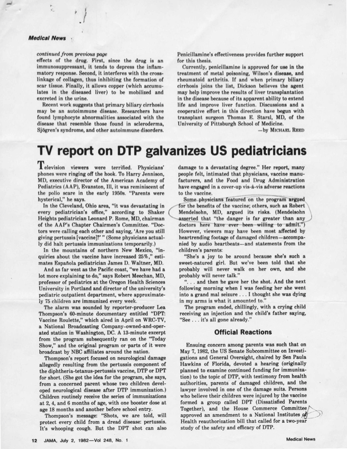 "TV report on DTP galvanizes US pediatricians,"" ""Newer pertussis vaccines on horizon,"" & ""Untoward effect of a face peel: toxic shock syndrome"