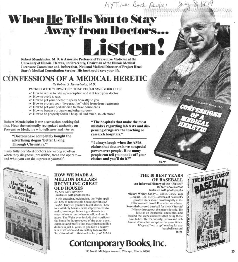 "Advertisement for ""Confessions of a Medical Heretic"""