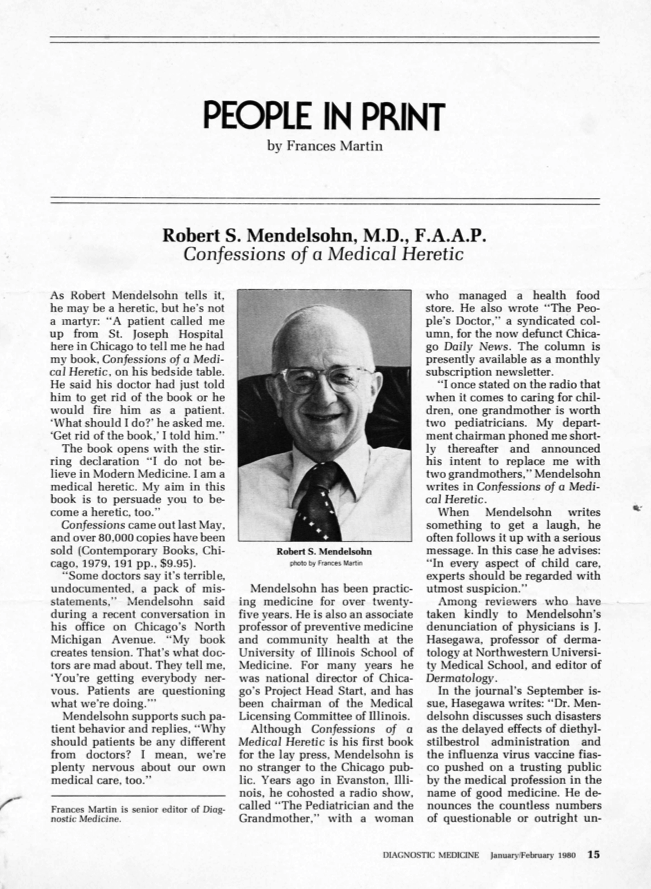 People in Print: Robert S. Mendelsohn, M.D., F.A.A.P. – Confessions of a Medical Heretic