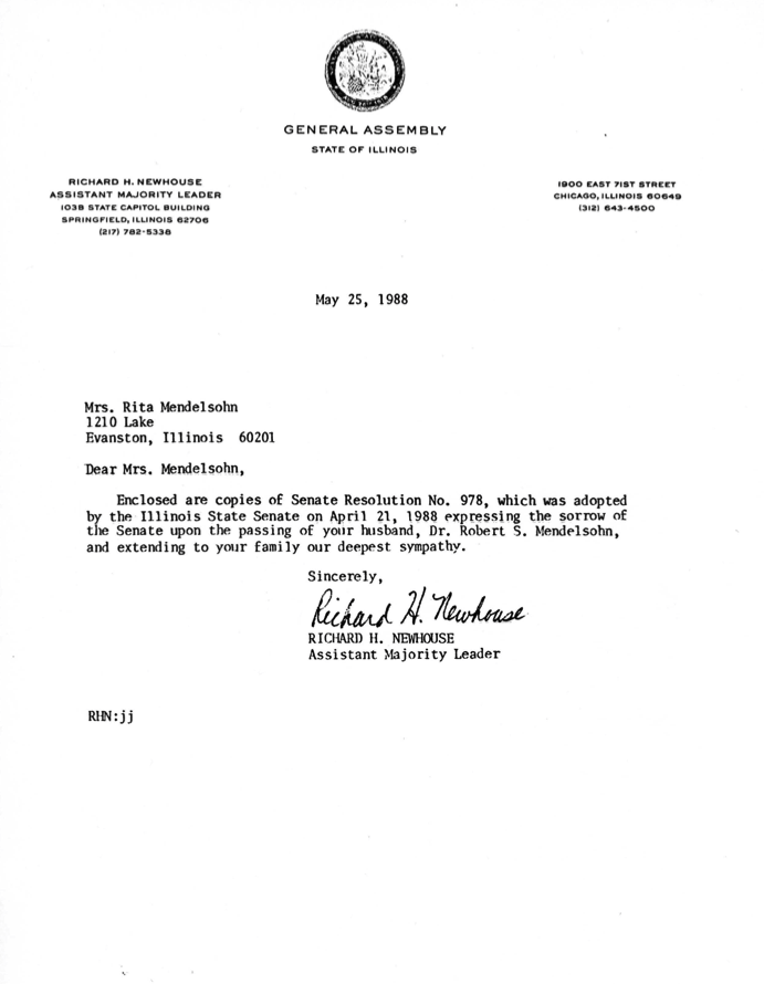 Copy of Illinois Senate Resolution No. 978 and letter from Richard J. Newhouse