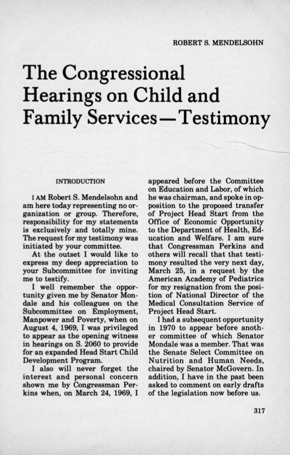 The Congressional Hearings on Child and Family Services – Testimony