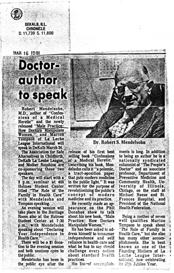 Doctor-author to speak