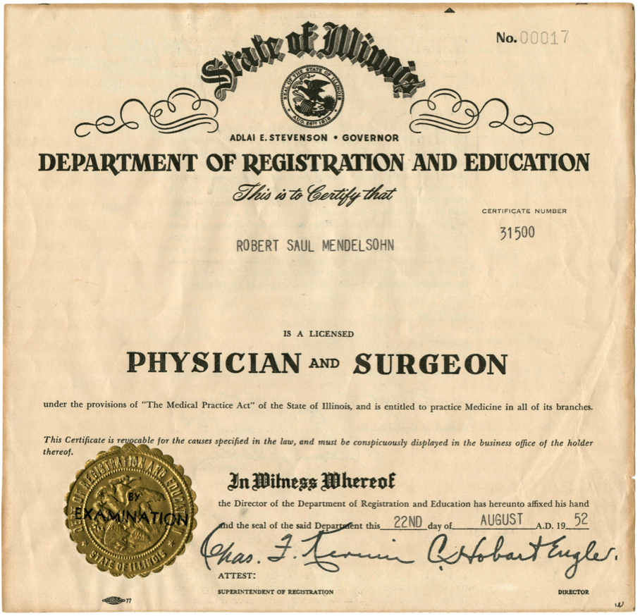 Robert S. Mendelsohn Illinois medical license