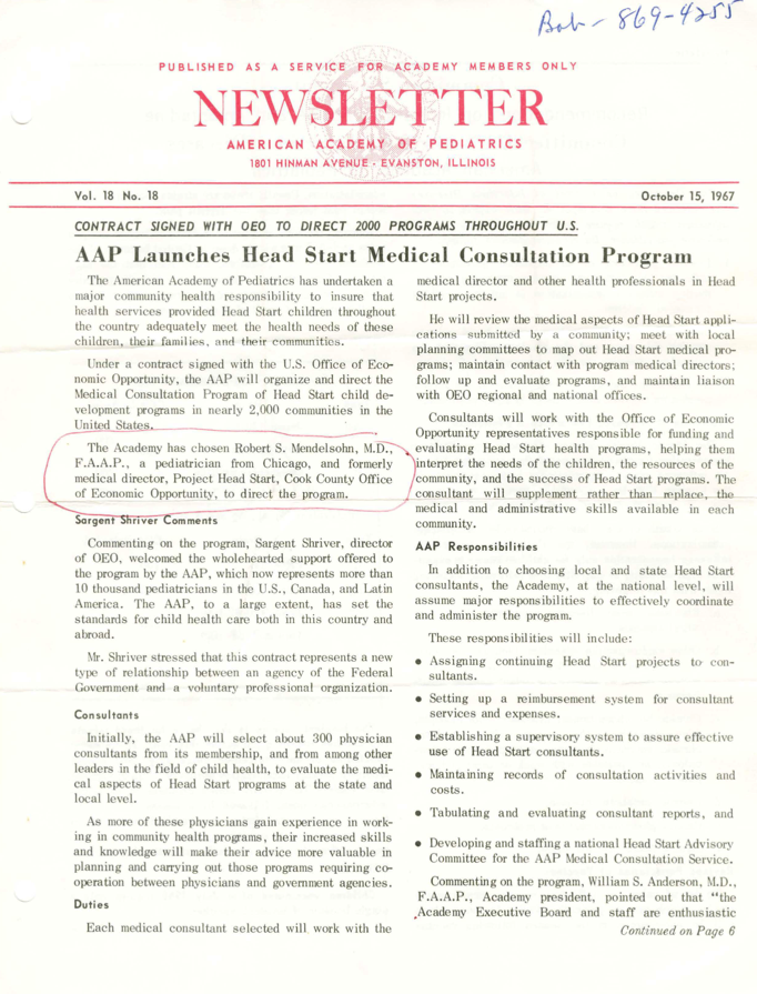 AAP Launches Head Start Medical Consultation and Chicago Pediatrician To Direct AAP Head Start Consultation Program