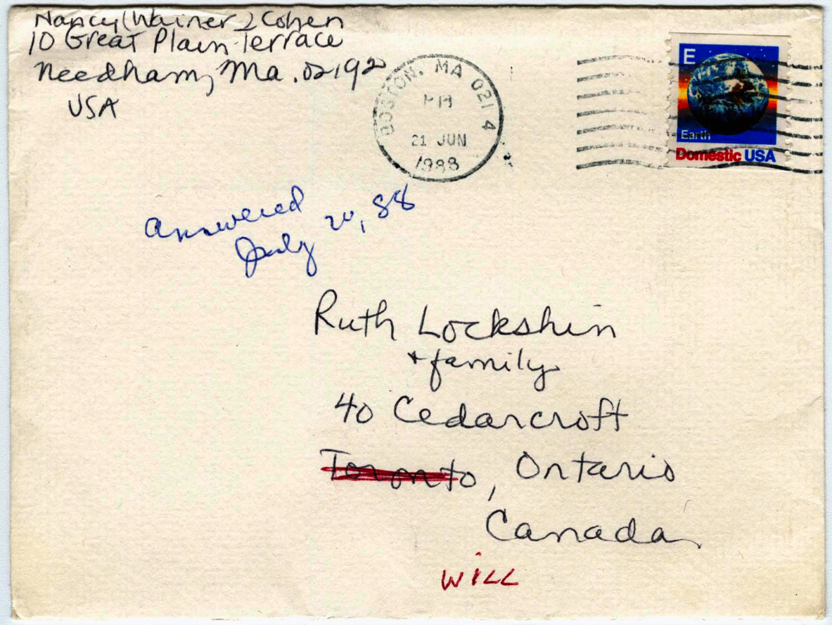 Condolences card sent to Ruth Lockshin & family from Nancy Wainer Cohen