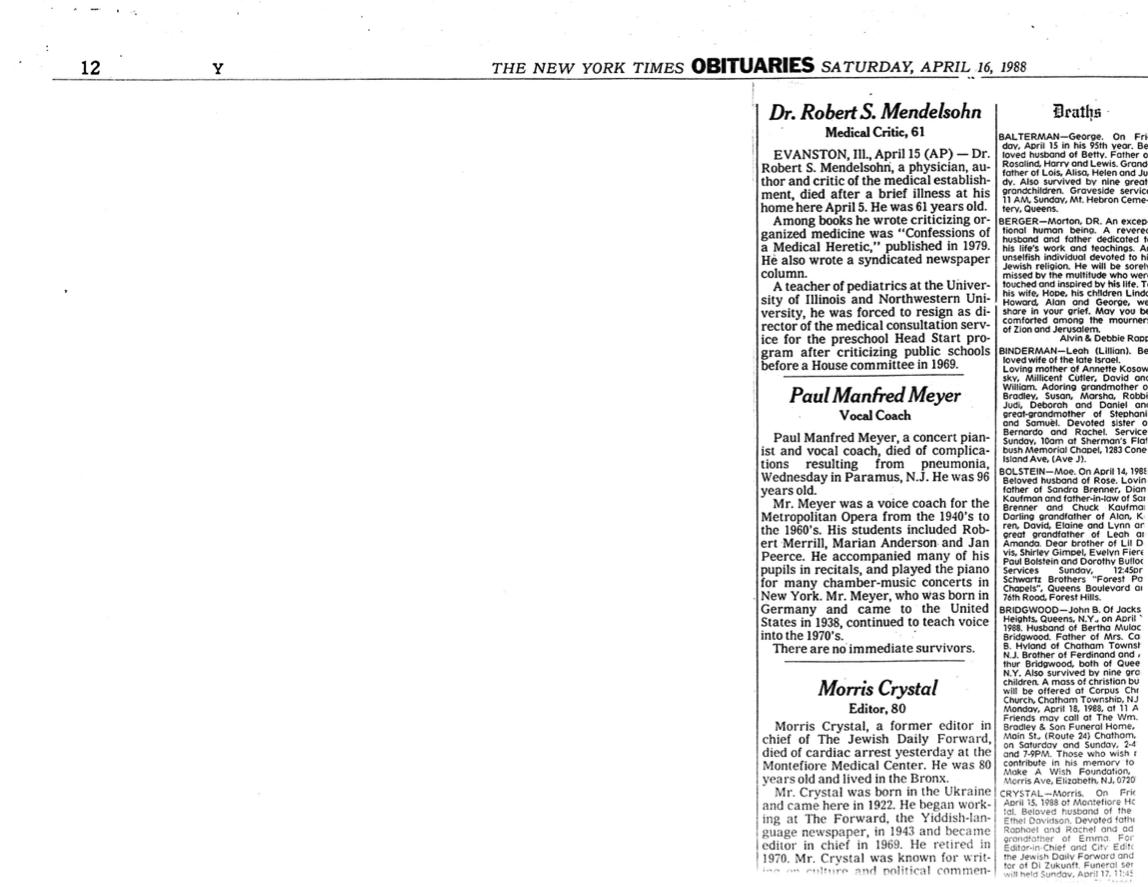 "Obituary: ""Dr. Robert S. Mendelsohn, Medical Critic, 61"""
