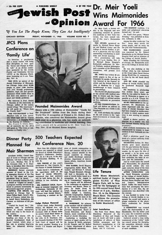 Dr. Meir Yoeli wins Maimonides Award for 1966