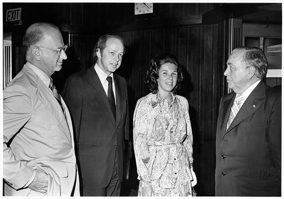 R.S. Mendelsohn standing and possibly in conversation with Leroy Pesch, M.D. (then President of Michael Reese Hospital) Sally Berger, and Chicago mayor Richard J. Daley.