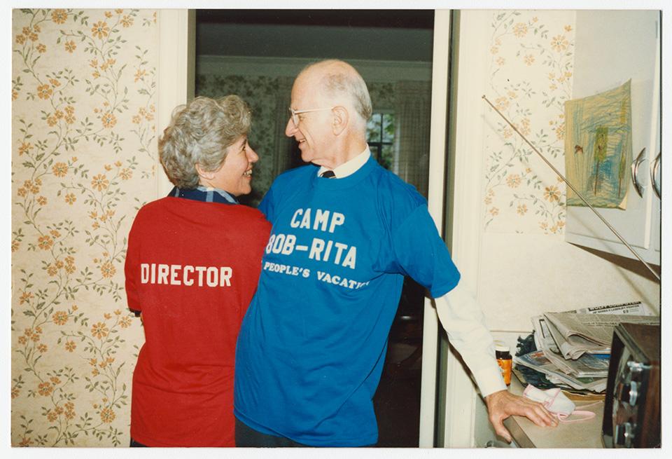 R.S. and Rita Mendelsohn standing in the doorway of a room