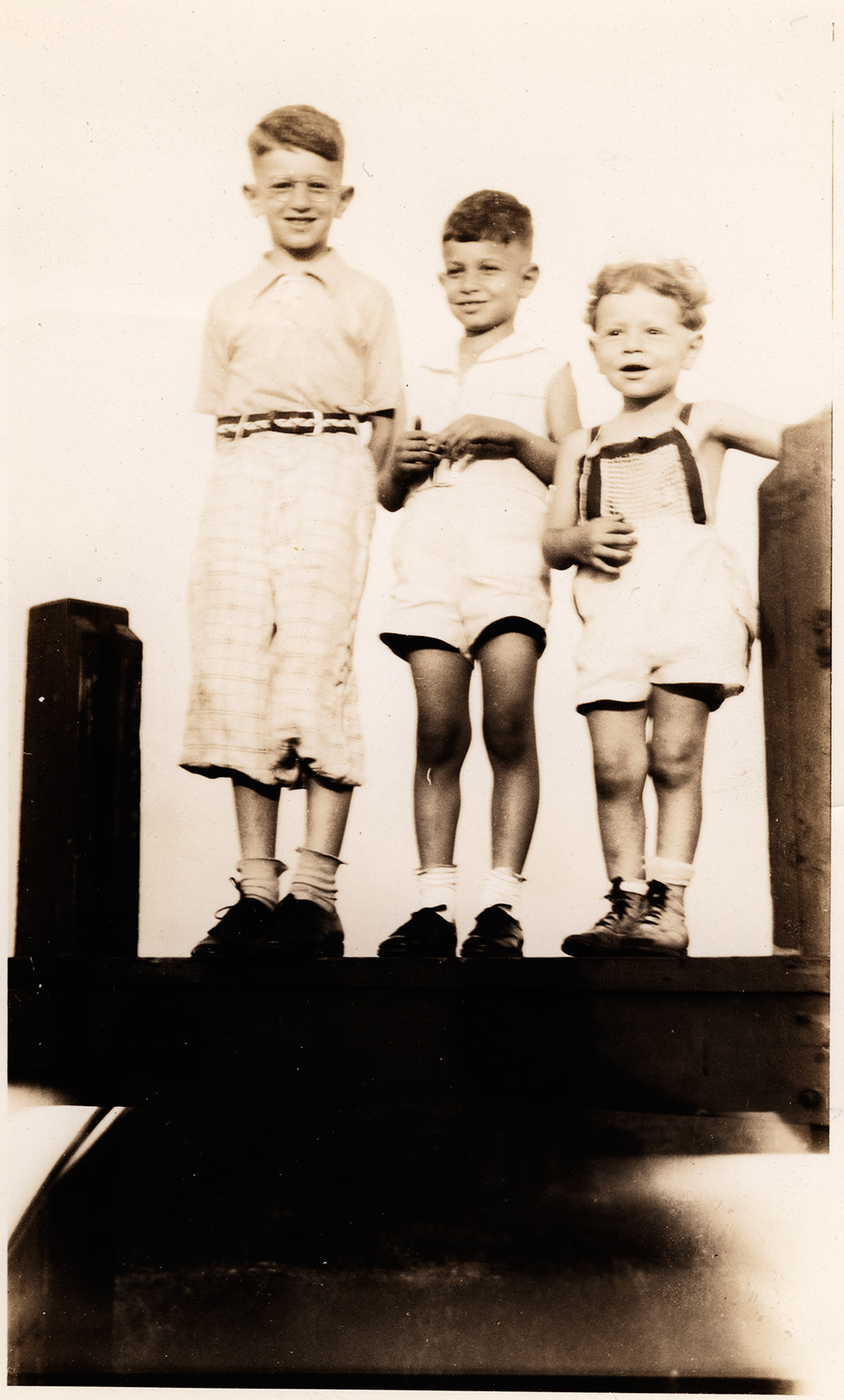 R.S. Mendelsohn as a child, standing atop a [ledge] with his younger brothers Mark and Allan beside him.
