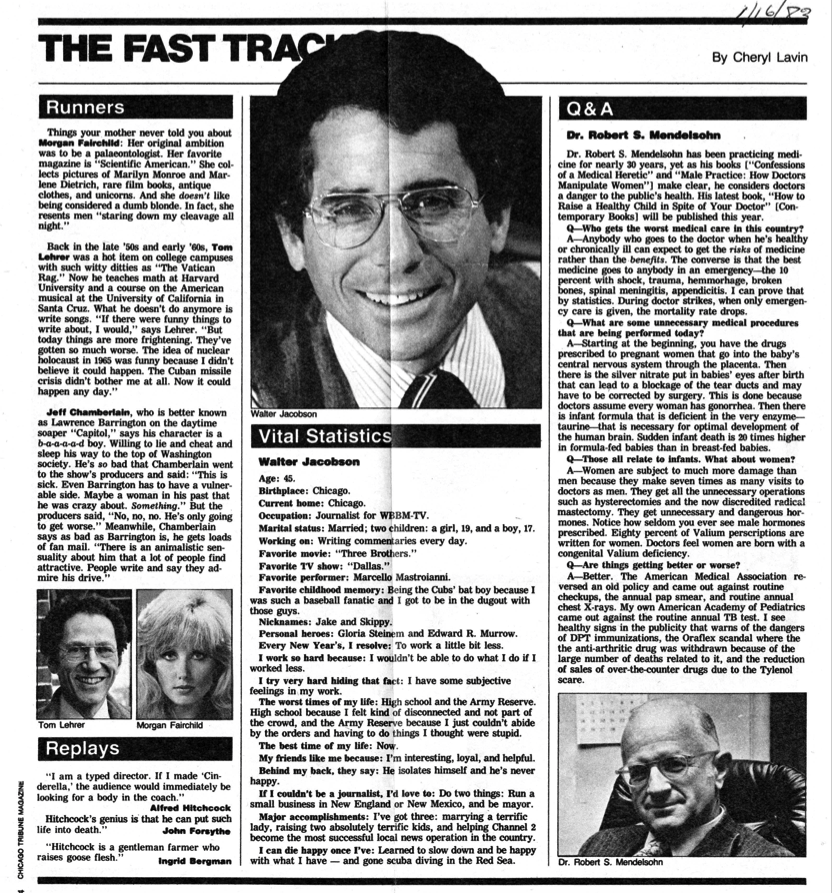 Fast Track' news brief page in magazine, featuring short Q&A with R.S. Mendelsohn