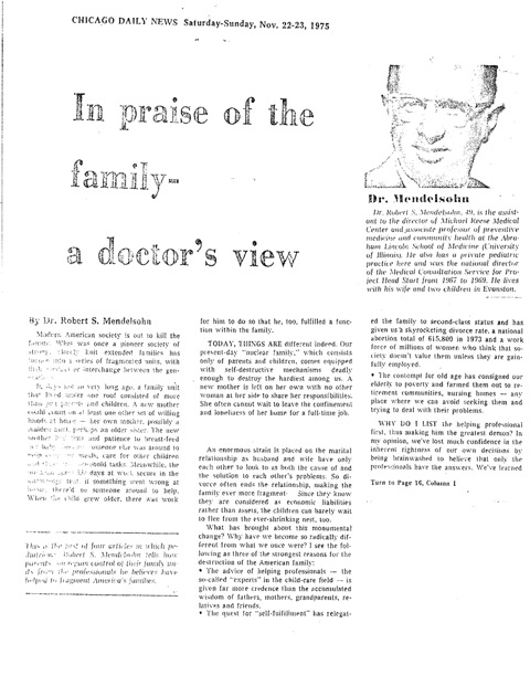 In Praise of the Family – Chicago Daily News Nov 1975