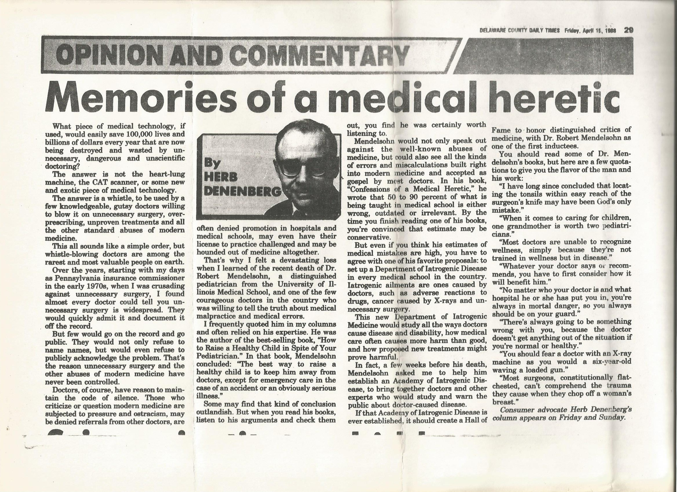 Obituary by Herb Denenberg, former Pennsylvania Insurance Commissioner and consumer investigative reporter