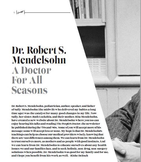 Article about Dr. Mendelsohn in Chabad Newsletter Fall 2016